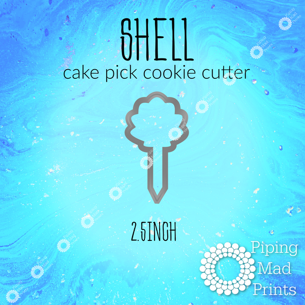 Shell 3D Printed Cake Pick Cookie Cutter - 2.5inch