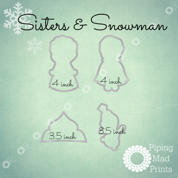 Frozen Sisters 3D Printed Cookie Cutter Set of 4