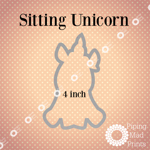 Sitting Unicorn 3D Printed Cookie Cutter - 4 inch - Piping Mad Prints - Green Bros Collective
