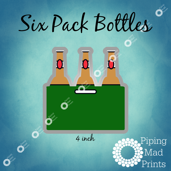 Six Pack Bottles 3D Printed Cookie Cutter - 4 inch