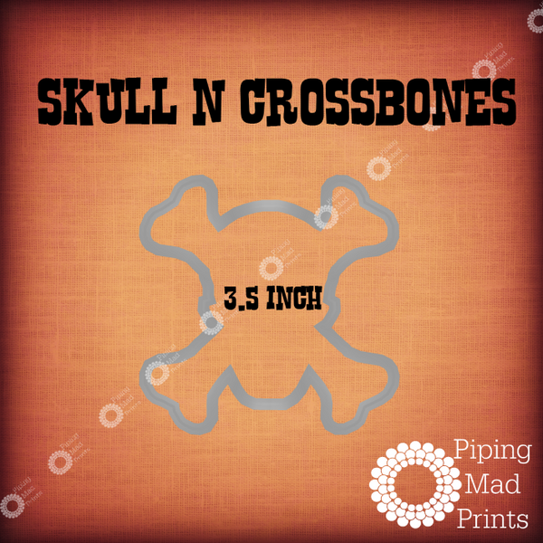 Skull N Crossbones 3D Printed Cookie Cutter - 3.5 inch - Piping Mad Prints - Green Bros Collective