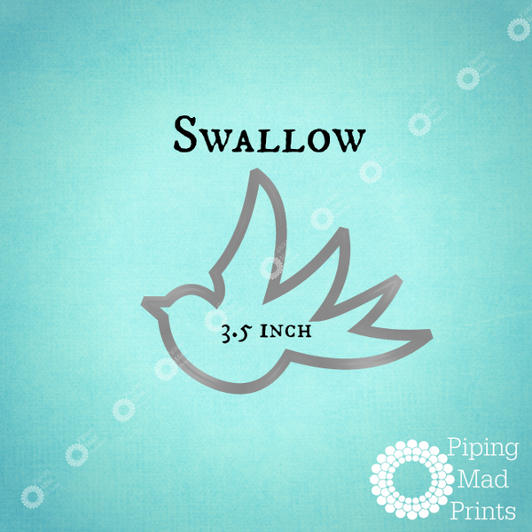 Swallow 3D Printed Cookie Cutter - 3.5 inch - Piping Mad Prints - Green Bros Collective
