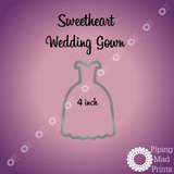 Sweetheart Wedding Gown 3D Printed Cookie Cutter - 4 inch - Piping Mad Prints - Green Bros Collective