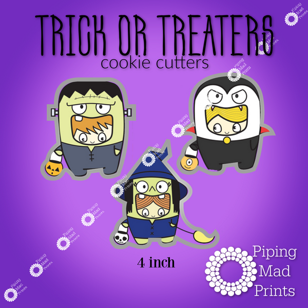 Trick or Treaters 3D Printed Cookie Cutter Set of 3 - 4 inch