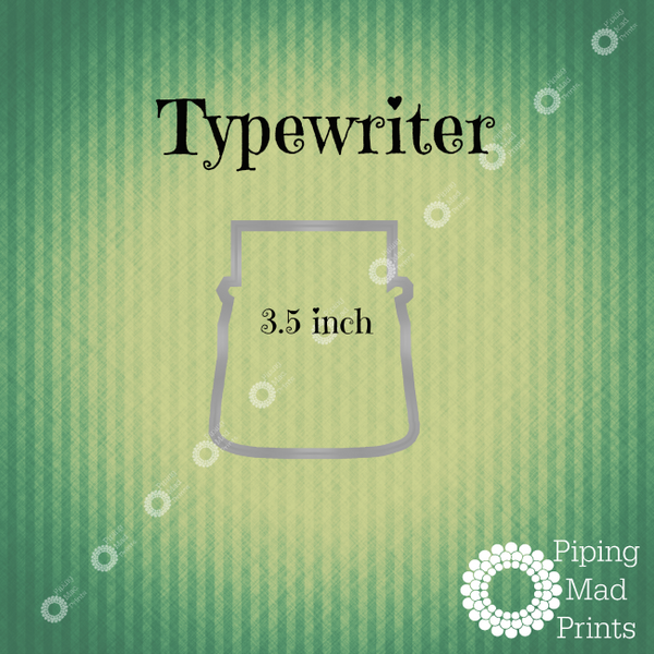 Typewriter 3D Printer Cookie Cutter - 3.5 inch - Piping Mad Prints - Green Bros Collective