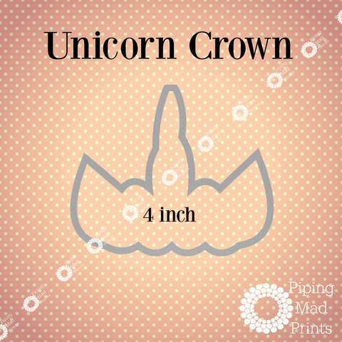 Unicorn Crown 3D Printed Cookie Cutter - 4 inch - Piping Mad Prints - Green Bros Collective