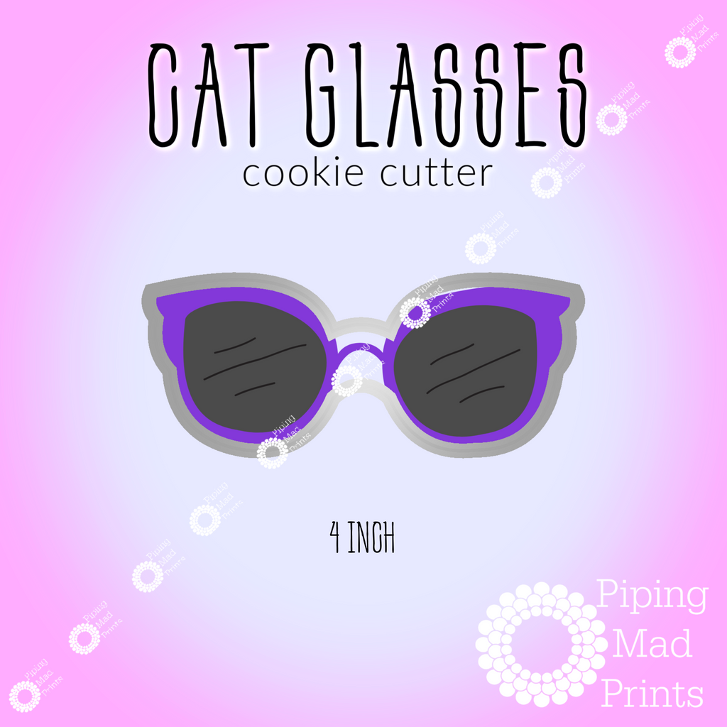 Cat Glasses 3D Printed Cookie Cutter - 4 inch