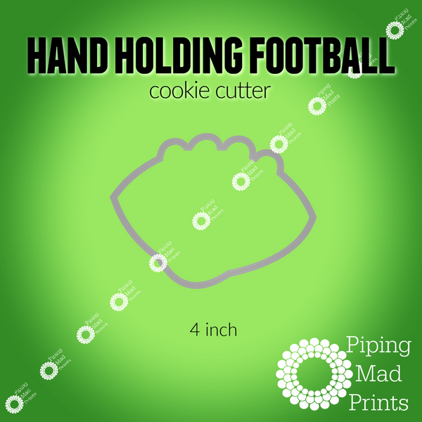 Hand Holding Football 3D Printed Cookie Cutter - 4 inch