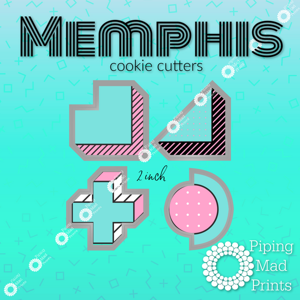 Memphis 3D Printed Cookie Cutter Set of 4 - 2 inch