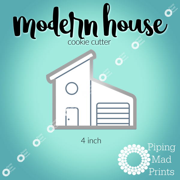 Modern House 3D Printed Cookie Cutter - 4 inch