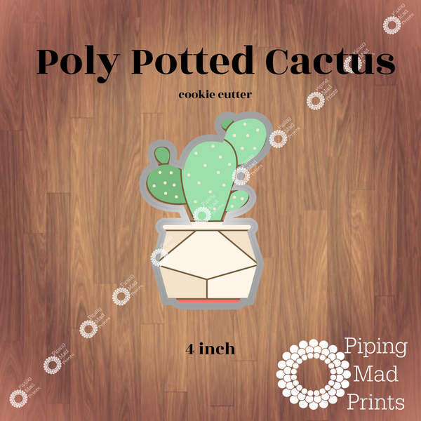 Poly Potted Cactus 3D Printed Cookie Cutter - 4 inch