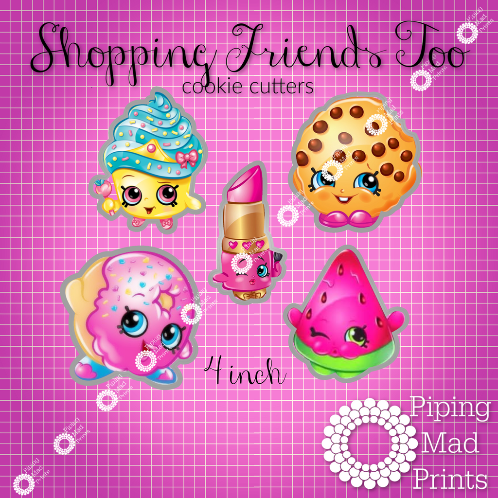 Shopping Friends Too 3D Printed Cookie Cutter Set of 5 - 4 inch