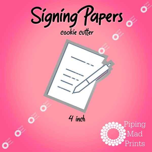 Signing Papers 3D Printed Cookie Cutter - 4 inch