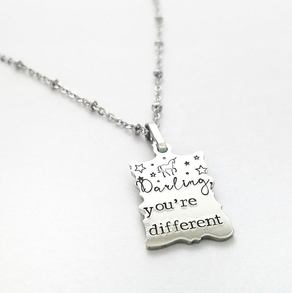 Darling, you're different necklace