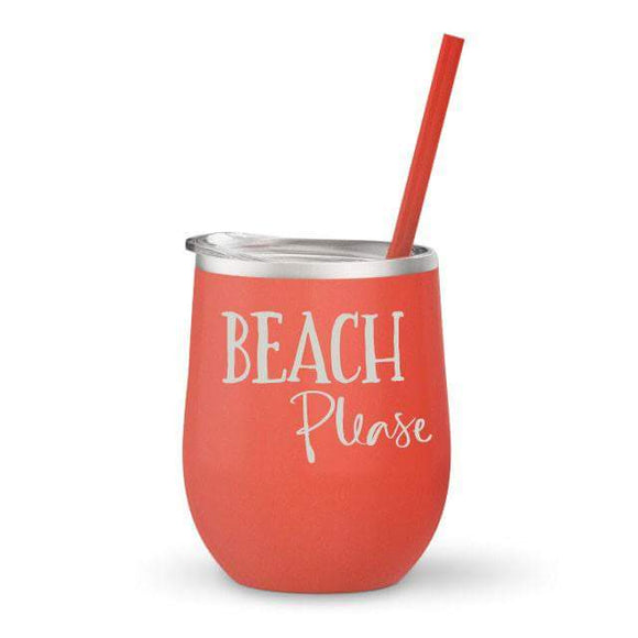 Beach Please Stainless Wine Glass