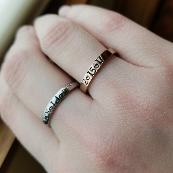 Personalized Thin Stacking Rings