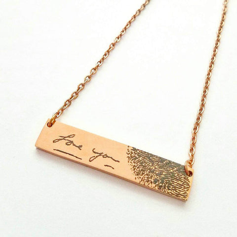 Fingerprint and Handwriting Bar Necklace