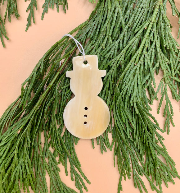 Handcrafted Small Cowhorn Snowman Ornament