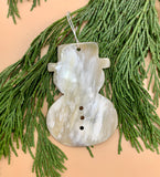 Handcrafted Large Cowhorn Snowman Ornament