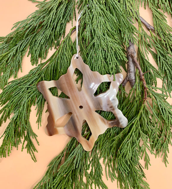 Handcrafted Cowhorn Snowflake Ornament