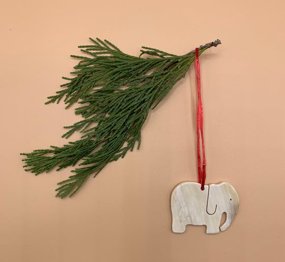 Handcrafted Cowhorn Elephant Ornament