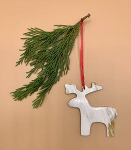 Handcrafted Cowhorn Moose Ornament