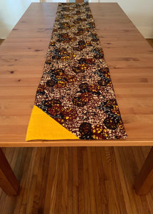 Padded Ankara Table Runner - Brown, Yellow & Blue