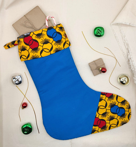 Quilted Ankara Christmas Stocking - Pattern M