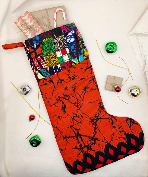 Quilted Ankara Christmas Stocking - Pattern E