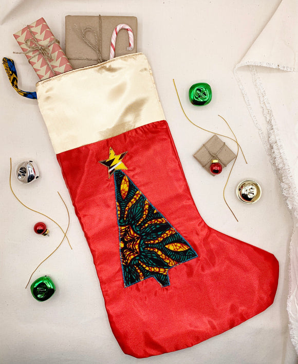 Satin Appliquéd Ankara Christmas Stocking - Pattern B