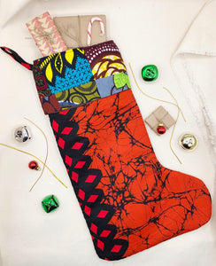 Quilted Ankara Christmas Stocking - Pattern A
