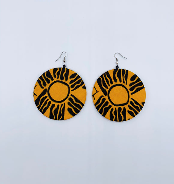 Ankara Circular Fabric Earrings/Yellow & Black