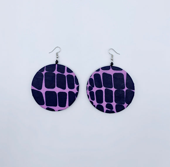 Ankara Circular Fabric Earrings/Purple