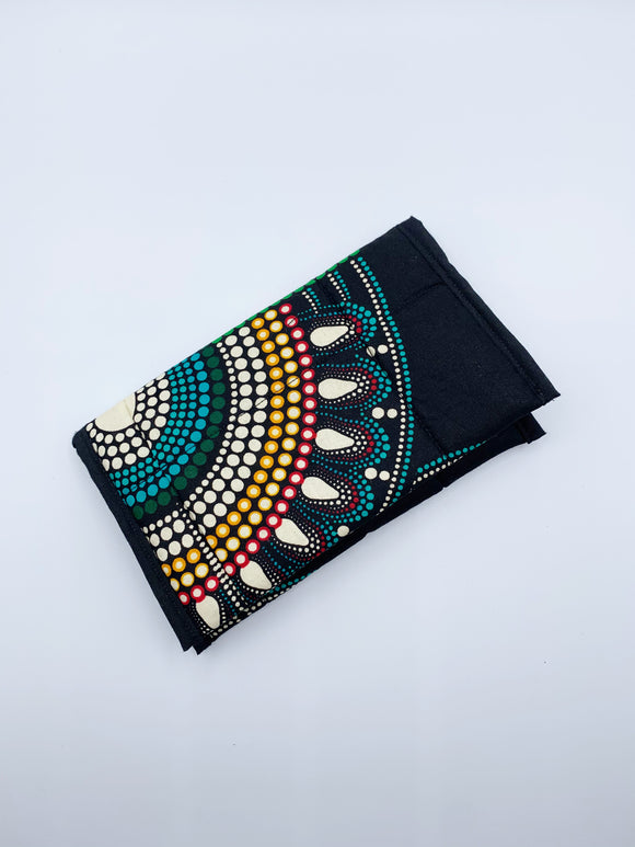 Quilted Ankara Wallet/Blue