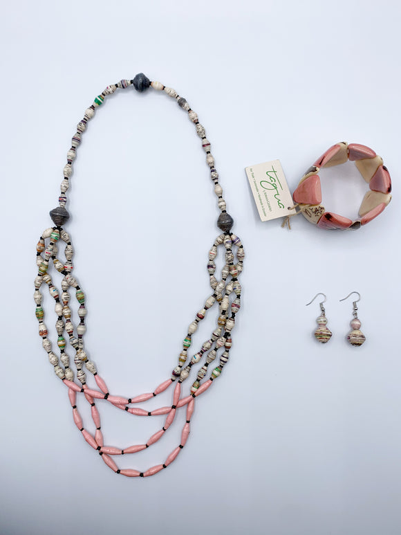 Paper Bead Necklace, Tagua Bracelet & Paper Bead Earring Gift Set