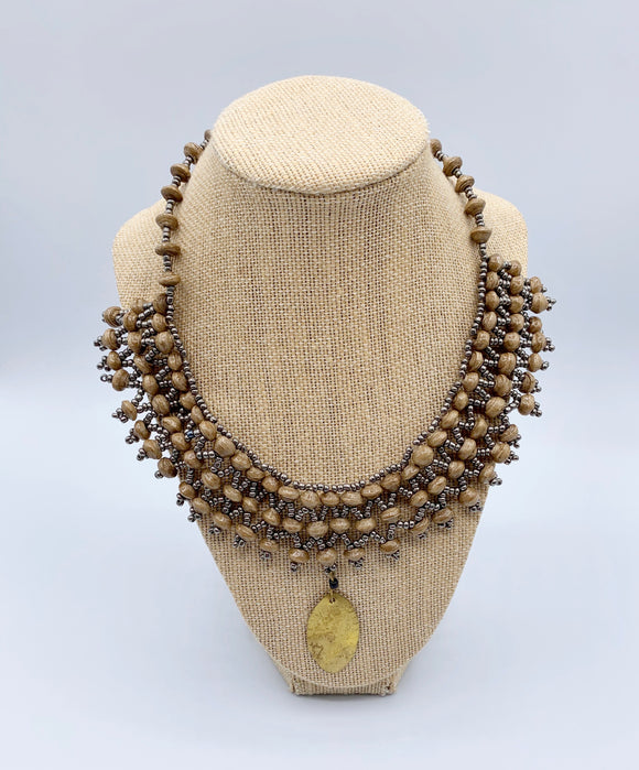 Handcrafted Paper Bead Necklace with Copper Drop/Bronze