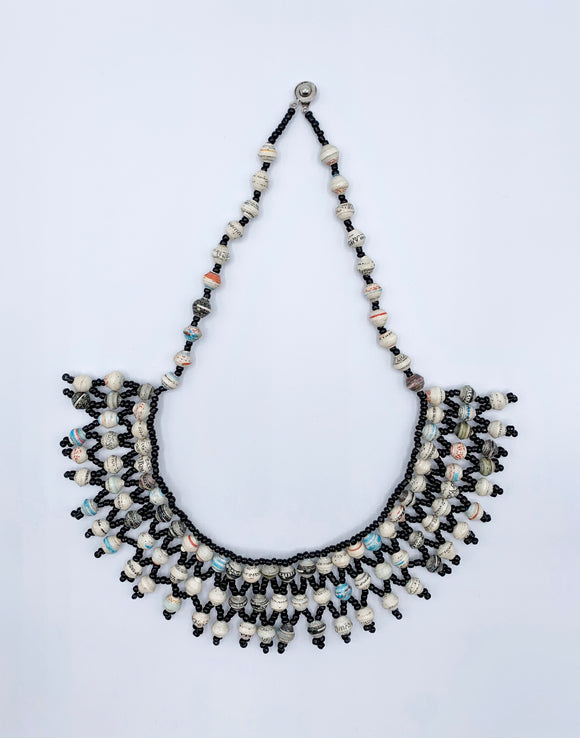 Handcrafted Paper Bead Necklace with Copper Drop/Black, White & Blue