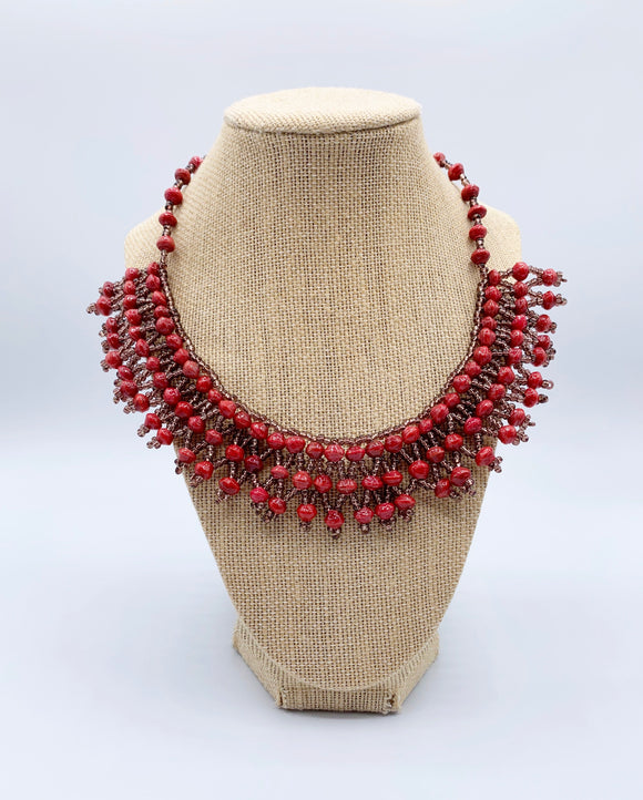 Handcrafted Paper Bead Necklace with Copper Drop/Red