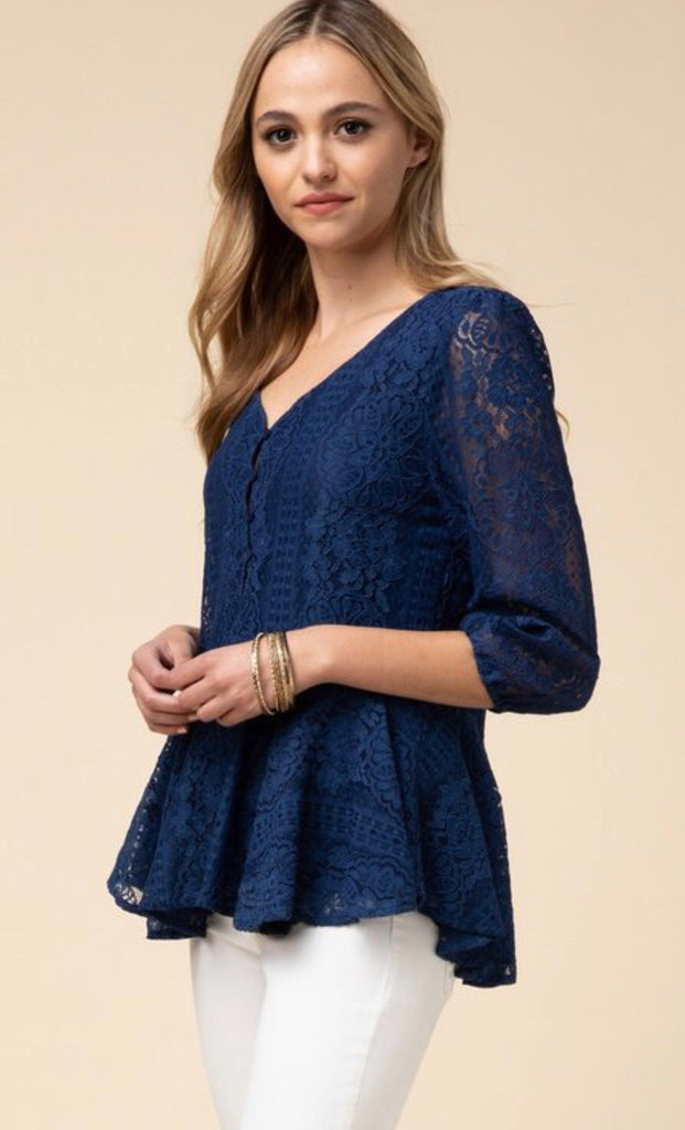Navy Lace Peplum Top