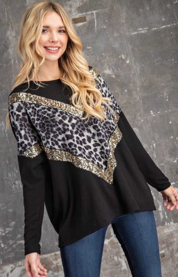 Leopard V + Sequin Sweater