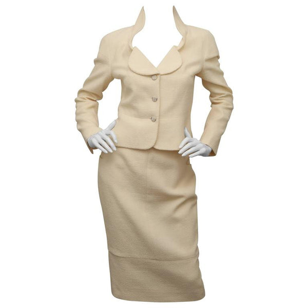 CHANEL Cream 2 Piece Skirt Suit