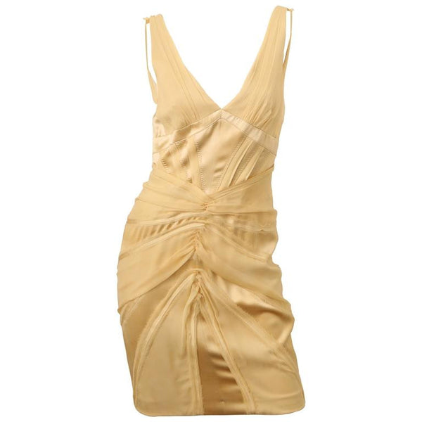 Zac Posen Cream Silk Dress W/ Fraved Edges