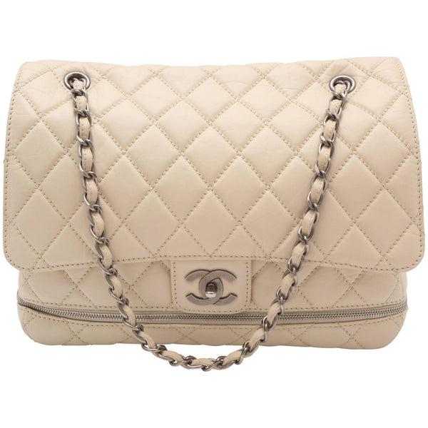 2005-2006 Chanel Paris Ivory Expandable Quilted Handbag