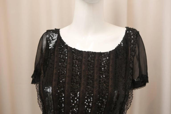 Oscar de la Renta Black Silk Dress W/ Sequins