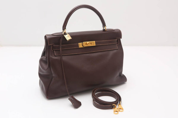 Hermes 32CM Brown Leather Kelly Handbag Circa 1994