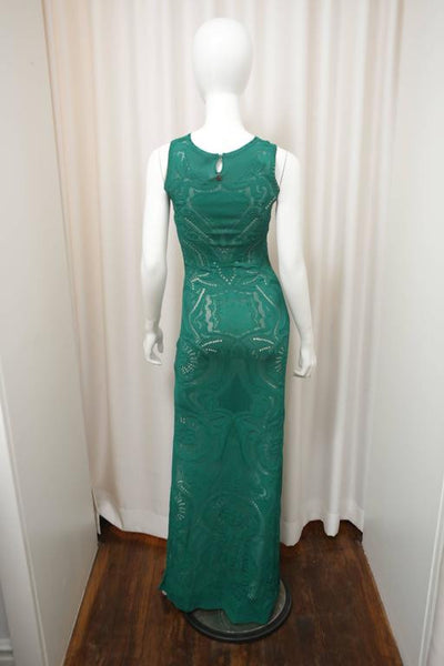 Roberto Cavalli Sleeveless Emerald Crochet Evening Gown