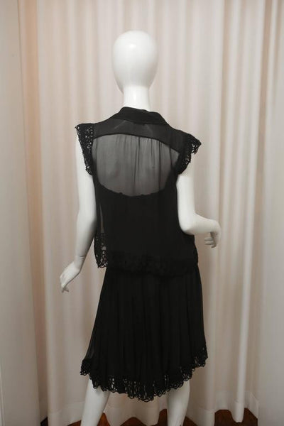 Chanel Three-piece Black Silk Ensemble