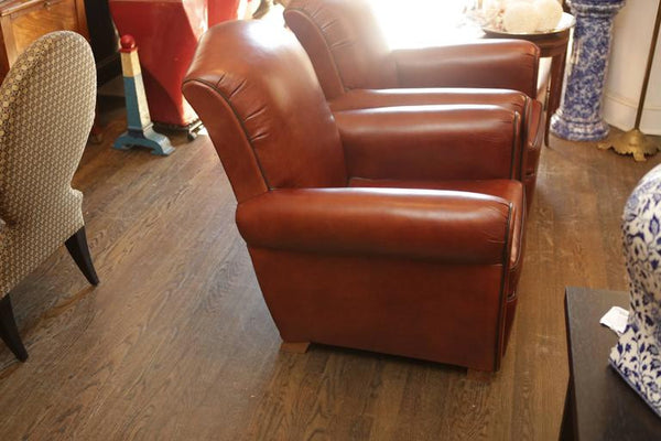 1920s French Vintage Newly Upholstered Leather Armchairs