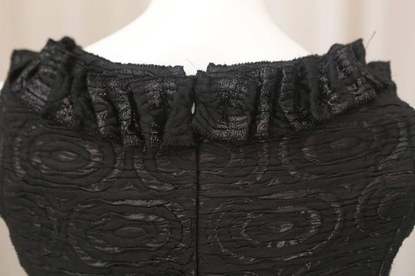 Oscar de la Renta Black Metallic Printed Dress with Ruffle Detail