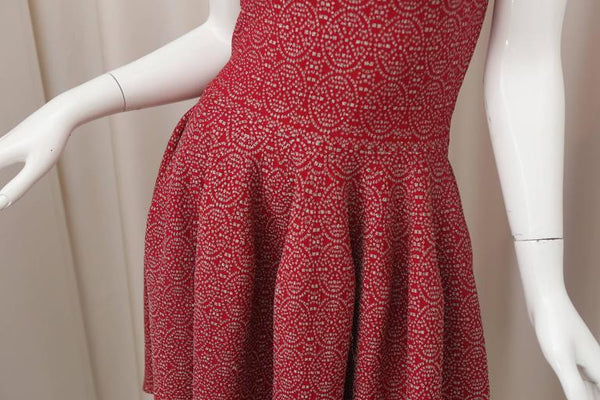 Alaia Sleeveless Fit n Flare Dress W/ Metallic Allover Pattern